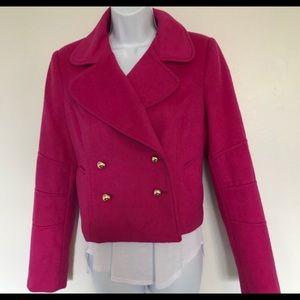 Wool pink biker style pea coat